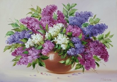 Картина цветы «Букет сирени» купить картину маслом в Кииеве
