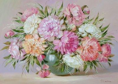 Картина маслом цветы пионы «Музыка слышится в каждом лепестке» купить картины для современных интерьеров Киев
