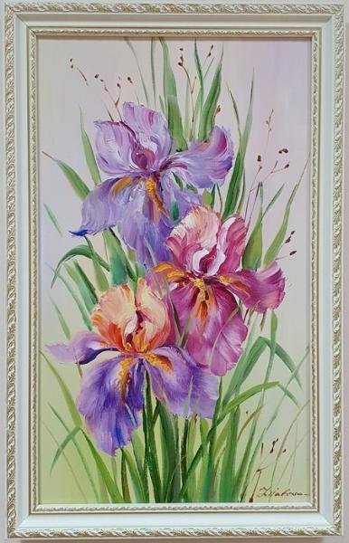 Картина цветы «Ирисы. Краски лета» купить картину маслом Киев