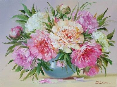 Картина цветы «Так нежен аромат пионов...» купить картину маслом Киев