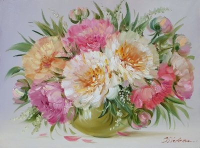 Картина цветы «Пионы - нежность в каждом лепестке» купить современную живопись Украина
