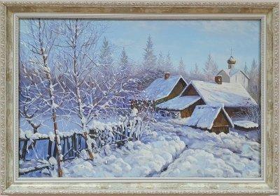 Картина маслом зимний пейзаж «Зимнее воспоминание» купить живопись Украина
