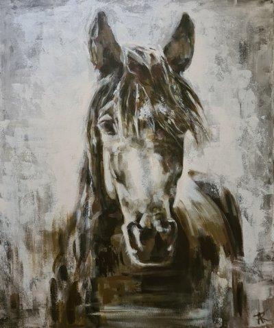 Картина акрил анималистика «Лошадь» купить живопись для современных интерьеров Украина