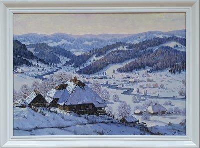 Картина маслом зимняя тематика «Зимний пейзаж» купить живопись Украина
