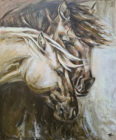 Картина акрил анималистика «Лошади» купить живопись для современных интерьеров Украина