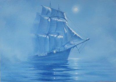 Картина морской пейзаж «Парусник в тумане» купить современную живопись Украина