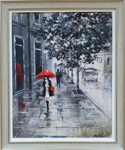 Картина маслом городской пейзаж «Парижанка» купить живопись Киев