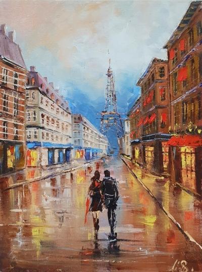 Картина маслом городской пейзаж Париж «Вечерний Париж» купить живопись Украина