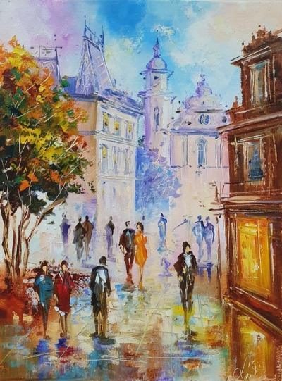 Картина маслом городской пейзаж Львов «Незабываемый Львов» купить живопись Украина