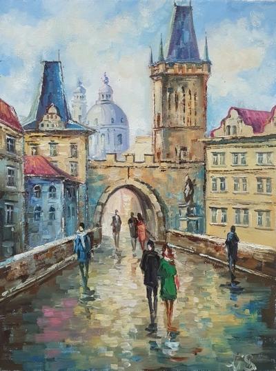 Картина маслом городской пейзаж Прага «Гуляя улицами Праги» купить живопись Украина