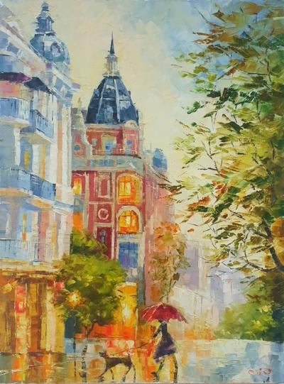 Картина маслом городской пейзаж «Дождь в Киеве» купить живопись для современных интерьеров Украина