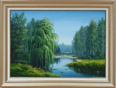 Картина маслом «Летняя прохлада» купить живопись летний пейзаж Украина