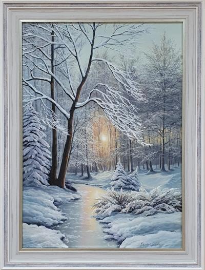 Картина маслом «Зимним сном природа спит» купить живопись зимний пейзаж Украина