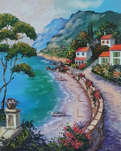 Картина маслом море пейзаж «Солнечное Средиземноморье» купить живопись Украина