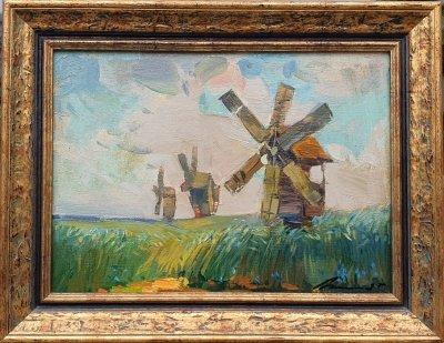 Картина маслом пейзаж «Ветряная мельница» купить современную живопись Украина