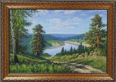 Картина маслом летний пейзаж «Умиротворение» купить картину Киев