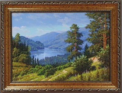 Картина маслом горный пейзаж «Горный пейзаж. Тишина» купить живопись Украина