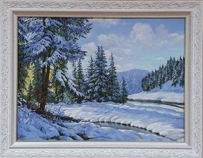 Картина маслом горный зимний пейзаж «Зимняя тишина в горах» купить живопись Украина