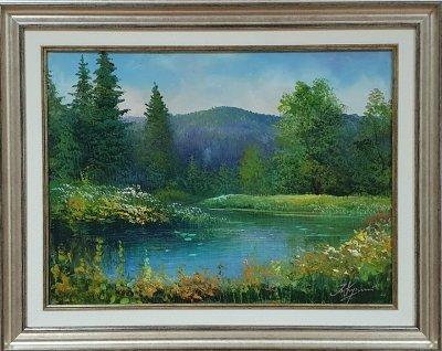Картина маслом летний пейзаж «Летняя прохлада» купить живопись Украина