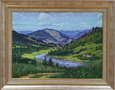 Картина маслом горный пейзаж «Горная тишина» купить живопись Украина