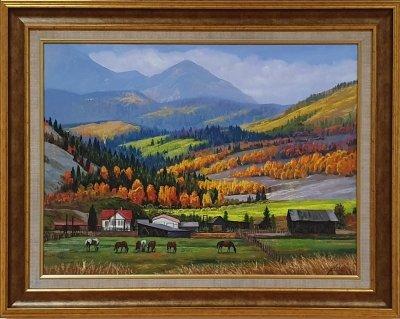 Картина маслом осенний горный пейзаж «Осень в горах» купить живопись Украина