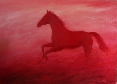 Картина маслом лошадь «Красная лошадь» 1