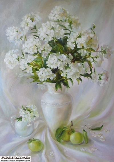 Картина «Флоксы и яблоки»