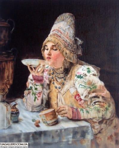 Картина «За чаем» копия Маковского
