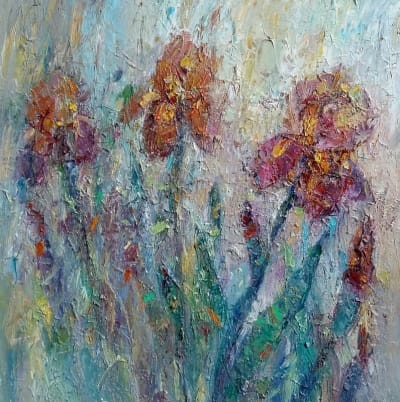Картина «Ирисы. Прикосновение дождя»