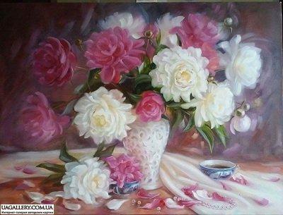 Картина «Весенняя нежность пионов»
