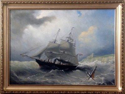 Картина «Корабль в бурном море», копия старинной картины