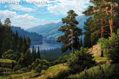 Картина «Летний пейзаж. Вид на реку.»