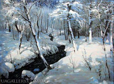 Картина маслом «Зимний пейзаж»