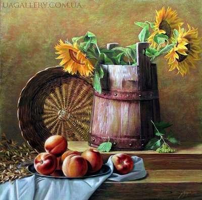 Натюрморт с подсолнухами в вазе (копия)
