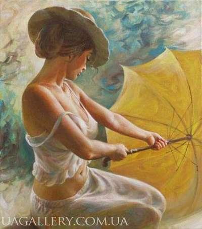 Ню с зонтиком