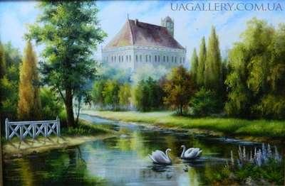 Лебеди на пруду