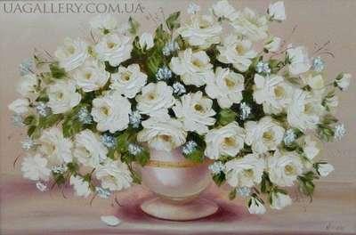 Картина «Букет белых роз»