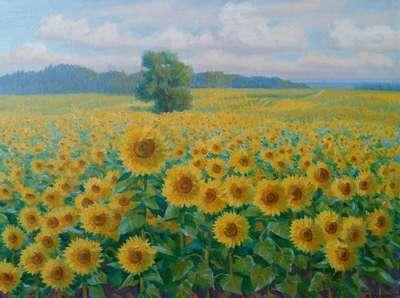 Картина «Солнечные подсолнухи»