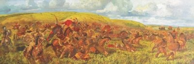 Картина маслом исторический пейзаж «Античные времена. Битва греков со скифами» купить живопись для современных интерьеров Киев