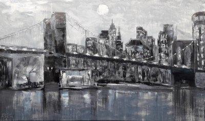Картина маслом городской пейзаж «Бруклинский мост. Нью-Йорк» купить живопись для современных интерьеров Украина