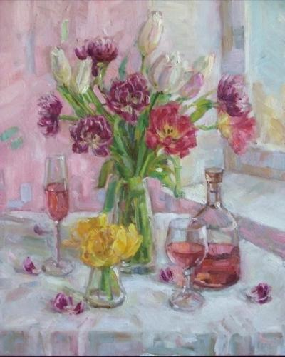 Картина маслом натюрморт «Букет тюльпанов с вином» купить современную живопись Киев