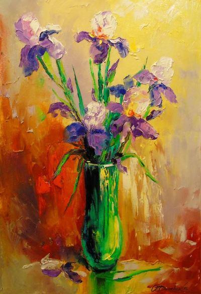 Картина «Букет ирисов в вазе»