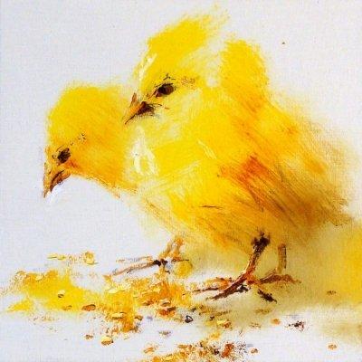 Картина маслом анималистика «Цыплята» купить живопись для современных интерьеров Киев