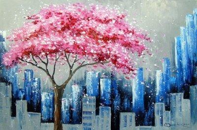 Абстрактная картина «Цветение сакуры в Нью Йорке» купить живопись для современных интерьеров Украина