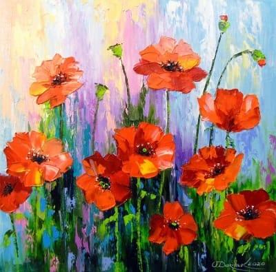 Картина маслом цветы «Цветение маков» купить живопись для современных интерьеров Украина