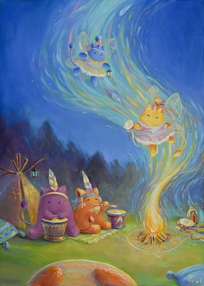 Картина детям «Пухнастики. Волшебный танец в ночном лесу» купить картину маслом Киев