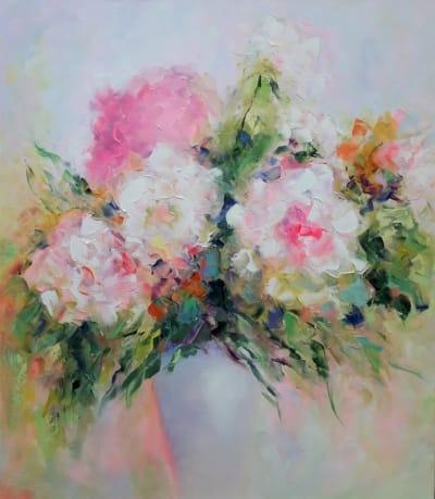 Картина маслом цветы «Нежные пионы» - современная живопись Украина