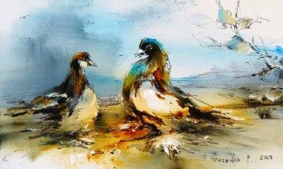 Картина маслом «Голуби» купить живопись для современных интерьеров Киев