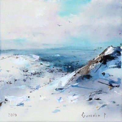 Картина маслом зимний пейзаж «Холодные дали» купить живопись для современных интерьеров Киев