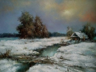 Картина маслом зимний пейзаж «Зима» - живопись для современных интерьеров Украина